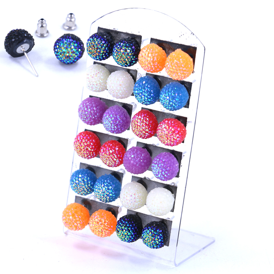 Free Shipping Hot Selling Korea Design Cheap Cute Solid AB Colors 10mm Resin Plastic Half Ball Iron Stick Stud Earrings 12pairs