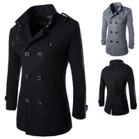 Long Woolen Slim Fit Overcoat - Double Breasted Winter Jacket 1