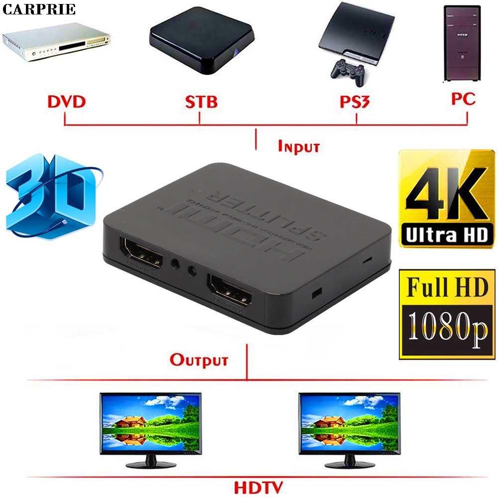 Envío gratis (almacén de EE. UU.) Ultra HD 4K HDMI divisor 1X2 2 puertos repetidor amplificador Hub 3D 1080p 1 en 2 Out adaptador de corriente