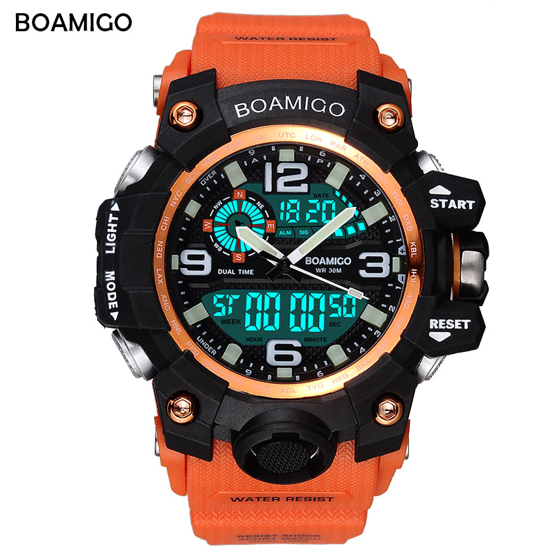 BOAMIGO brand 2018 men sports watches dual display analog digital LED Electronic quartz watches 50M waterproof swimming watch