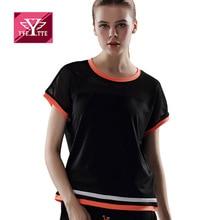อีเว็ตต์สีดำรอบคอแขนสั้นลายเสื้อลำลองประเดิมแฟชั่นสไตล์ยี่ห้อด่วนระบายอากาศแห้งผู้หญิงเสื้อยืด