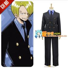 One Piece Sanji Cosplay Costume Halloween Party Men's COS Suit Full Set Coat+shirt+tie+pants