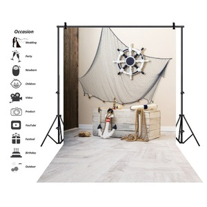 Laeacco Photo Backdrops Ship Anchor Gray Wooden Box Fishnet Baby Birthday Party Kid Portrait Photo Backgrounds For Photo Studio