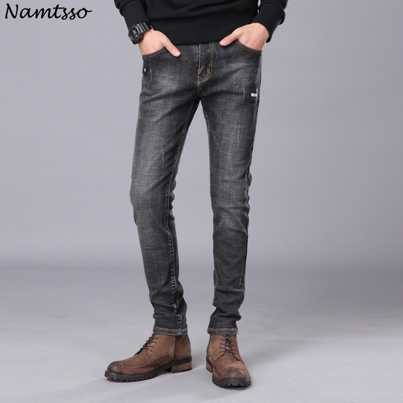 2018 Four Seasons New Mens Jeans Casual Fashion Comfort Stretch Slim Straight Straight jeans Men Cotton
