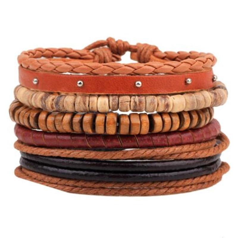 ZOSHI Vintage Tribal Bohemian Wood Beads Bracelet Boho Bracelet Cuff Men Leather Braclet Femme Male Wrist Band Handmade Jewelry