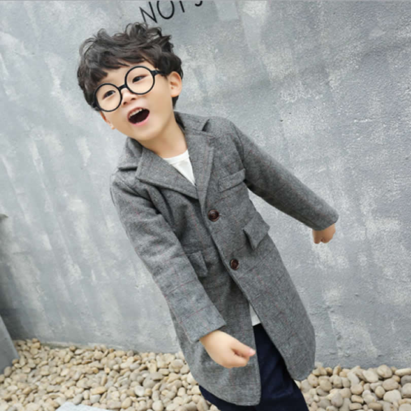 Children's Clothing 2017 Autumn new Boy trench Fashion Leisure Lattice Kids boy suit trench Beikinyuans