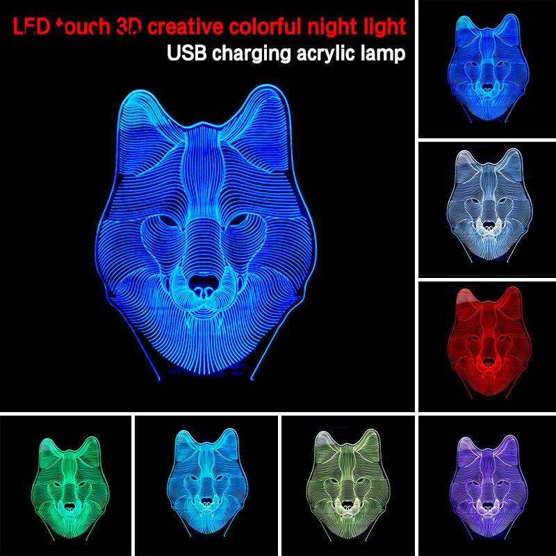 Christmas Gifts Table Lamp Acrylic General Room Decoration Night Light Touch Control Wolf Head Shape Creative Desk Light