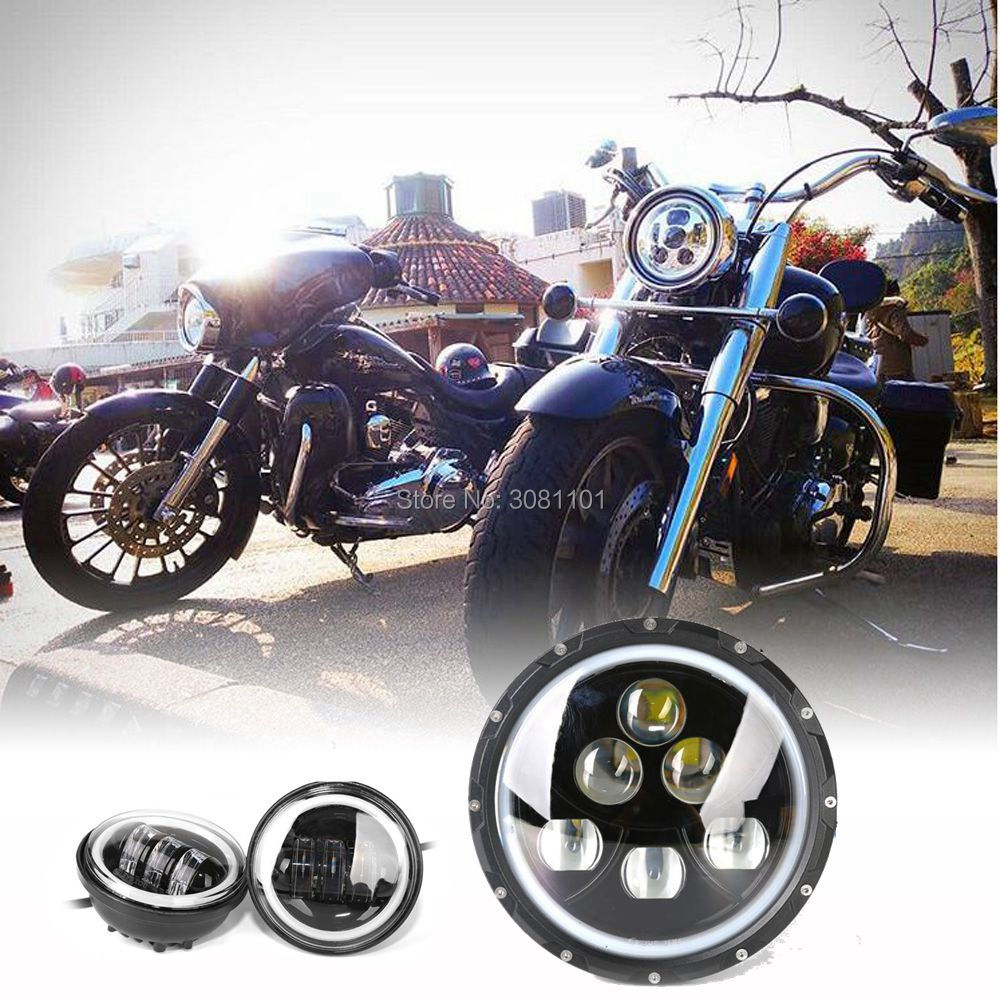 60W 7projector daymaker H4 Black Housing Headlight and 4.5 Fog lamp  PC Lens  for 2005-2006 Harley-Davidson Night Train etc.