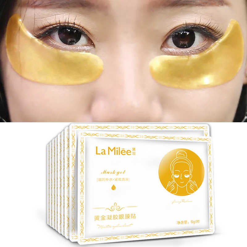 10 แพ็ค = 10 คู่ LAMILEE Gold Aquagel Collagen Eye Mask Ageless Sleep Mask Eye Patches Dark Circles Face ผิว care Whitening