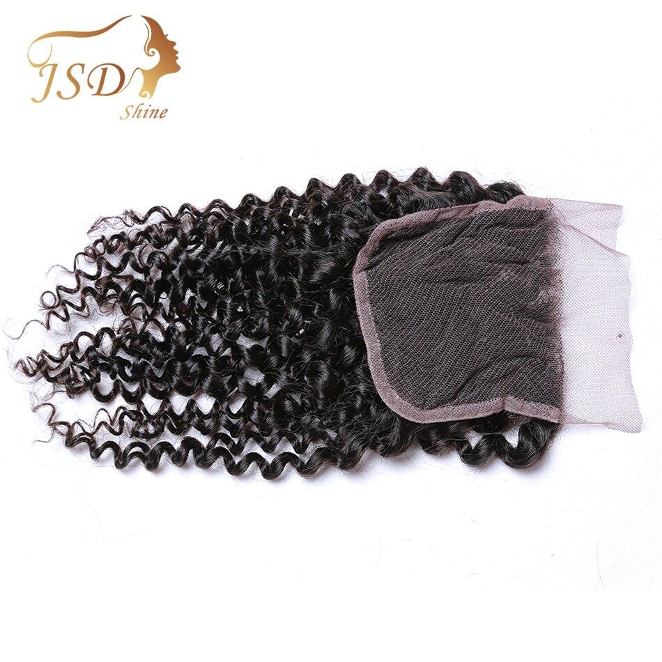 Jsdshine волос 4*4 Кружева закрытия монгольское странный вьющиеся волосы ткань 10-20 дюймов Волосы Remy швейцарский закрытия шнурка плотность 130% мог...