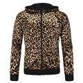 Leopardo dos homens Casaco Com Capuz Jaqueta de Leopardo dos homens Marca de Moda jaquetas Casuais Zíper Com Capuz Elástico Com Capuz Outwear Parka