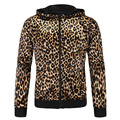 Men's Leopard Hooded Coat  Leopard Jacket Men's Brand Fashion Casual  jackets  Zippered Hoodie Elastic Hooded Outwear Parka