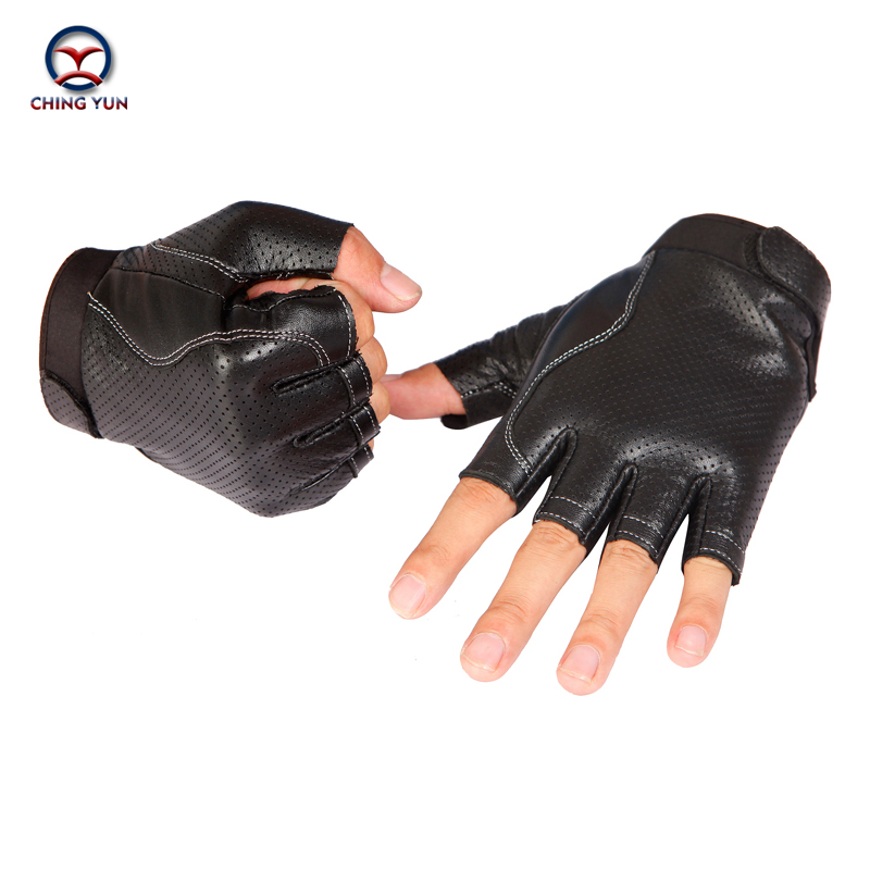 CHING YUN 2019 Man High Quality PU Gloves Fingerless Tactical Male Semi-finger Protective Ride Non-slip Mitts Imitation Leather