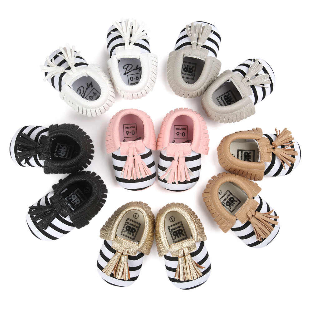 ROMIRUS Classic Baby Boys Girls Striped Tassel Moccasins Soft Moccs Shoes Babe Crib Soft Soled Pu Leather Fringe First Walkers