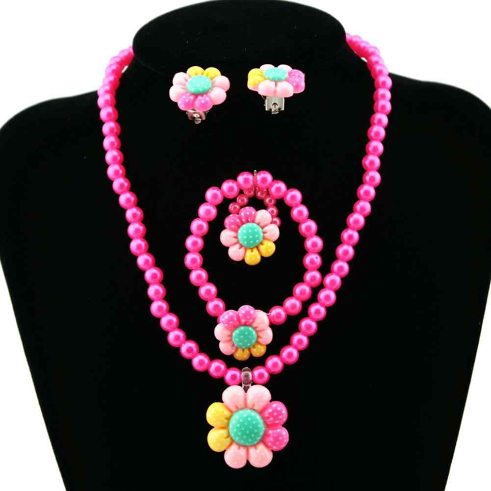 Flower Artificial Pearls Kids Girls Earrings Bracelet Necklace Ring Jewelry Set New Hot