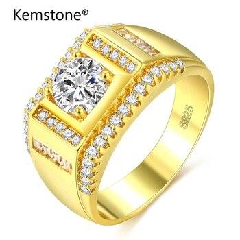 Kemstone, moda dominante, anillo de cristal para hombre, Color dorado, joyería nupcial para boda, amante, amigo, amistad, anillos para los dedos