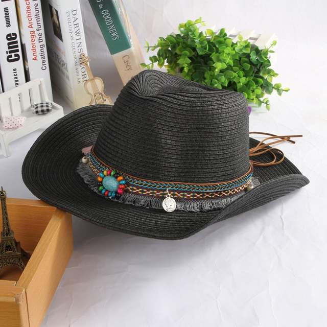 0a2be0990 US $9.66 8% OFF|Ethnic Handmade Knitted Straw Hat Women Men Summer Hats  Western Cowboy Hat Jazz Church Cap Sombrero Cap Sunhats -in Sun Hats from  ...