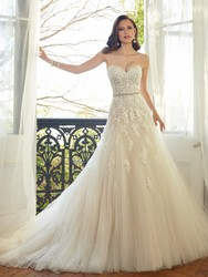 Sweetheart Light Champagne Lace Applique Wedding Dress With Color Beading Sash Bridal Gowns In Stock Robe De Mariage 2