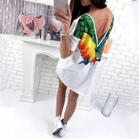 2017 Summer White Tops Loose Casual Long Parrot Print Fashion Tees T Shirt High Low Female