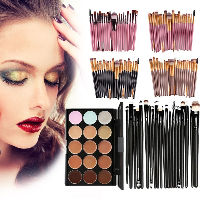 15Pcs Makeup Brush Set Foundation Blush Powder Eyeshadow Eyeliner Cosmetic Brushes Eye Brow Lip Contour Blending Make Up Kits 1 4pcs cosmetic makeup brushes set eyebrow eyeliner eyelashes lip makeup brush kits eyeshadow blush brushes pinceis de maquiagem