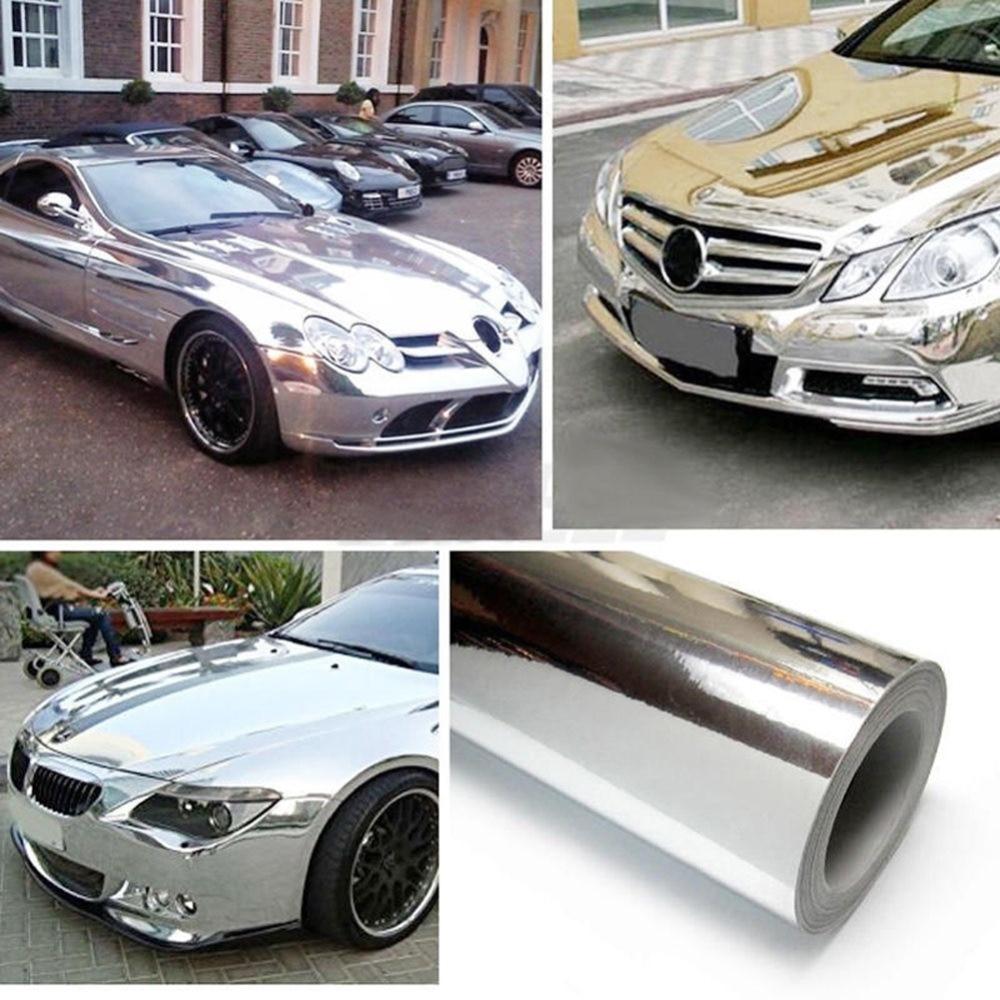 Chrome ฟิล์มไวนิลฟิล์มรถ Chrome Wrap รถสำหรับรถยนต์ไวนิลห่อสติกเกอร์ไวนิล 15*152 ซม.