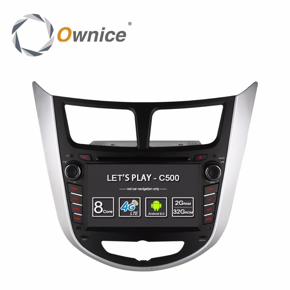 Ownice C500 4 Ядра Android 6.0 2 din АВТОМОБИЛЬНЫЙ dvd-плеер для Hyundai accent Verna i25 Solaris с GPS BT радио wifi 4 Г <font><b>LTE</b></font> сети