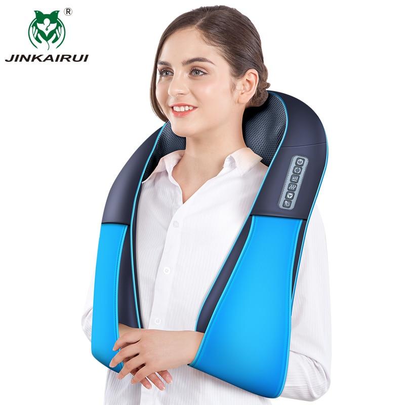 JinKaiRui Newest Neck Massager 16 Massage Rollers 3D Kneading Massage Heating Direction Adjustable 3 Strength Smart