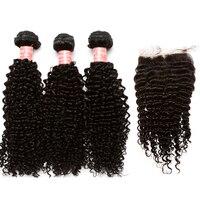 3 Человеческие Волосы Связки с Шёлковые подкладки бразильский странный вьющихся волос, плетение Связки с Синтетическое закрытие волос 4x4 ча