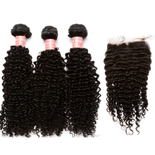 3 Human Hair Bundles With Silk Base Closure Brazilian Kinky Curly Hair Weave Bundles With Closure 4×4 Part Honey Queen Hair Remy