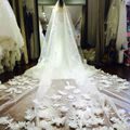 Cathedral Long 5 Meter Wedding Veils Luxury Handmade Flowers Bridal Veil Voile Mariage 2016 Couture Veu De Noiva Longo Com Renda