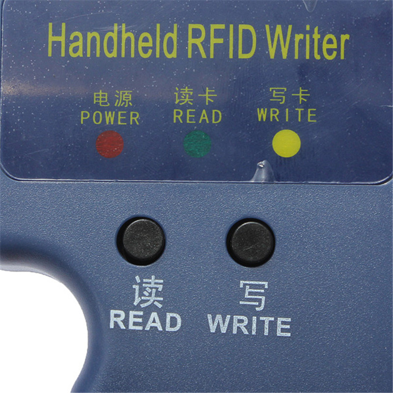 Lector de tarjetas de identificación grabador duplicador, lector + 6 teclas + 6 uds. De tarjetas de identificación regrabables, RFID, 125KHz EM4100