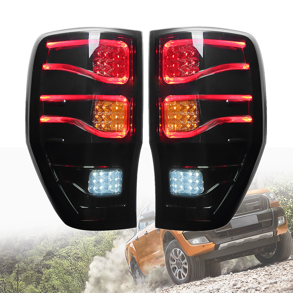 2Pcs for Ford Ranger 2012-2018 Smoked Auto Car LED Rear Tail Lights Brake Lamps ABS Light Size Approx 27x43cm free shipping led tail lamps assy bm style light bar rear lamps tail lights fit for hyundai elantra 2012 2015