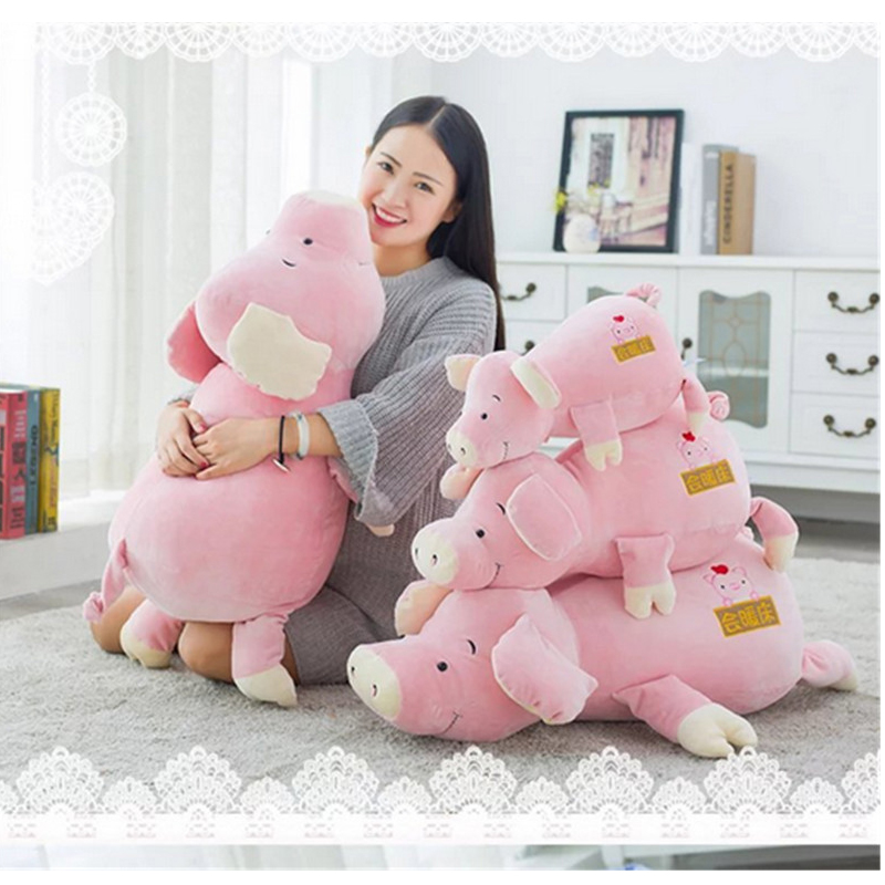Fancytrader Warm Soft Pink Pig Plush Toys Big Stuffed Lying Pigs Pillow Cushion 80cm 31inches   Birthday Christmas Gift hot sale cute dolls 60cm oblong animals pillow panda stuffed nanoparticle elephant plush toys rabbit cushion birthday gift