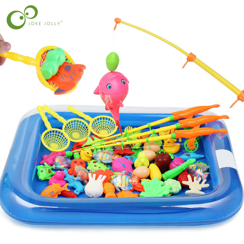 Children Boy girl fishing toy set suit magnetic play water baby toys fish square hot gift for kids Free Shipping GYH messenger bag