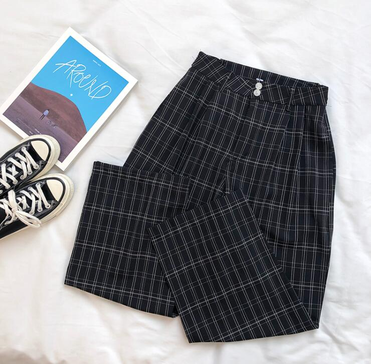 Summer retro temperament plaid loose casual   wide     leg     pants