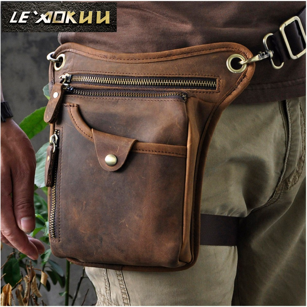Genuine Real Leather Men Design Casual Messenger Crossbody Sling Bag Fashion Waist Belt Pack Leg Drop Bag Phone Pouch 211-5