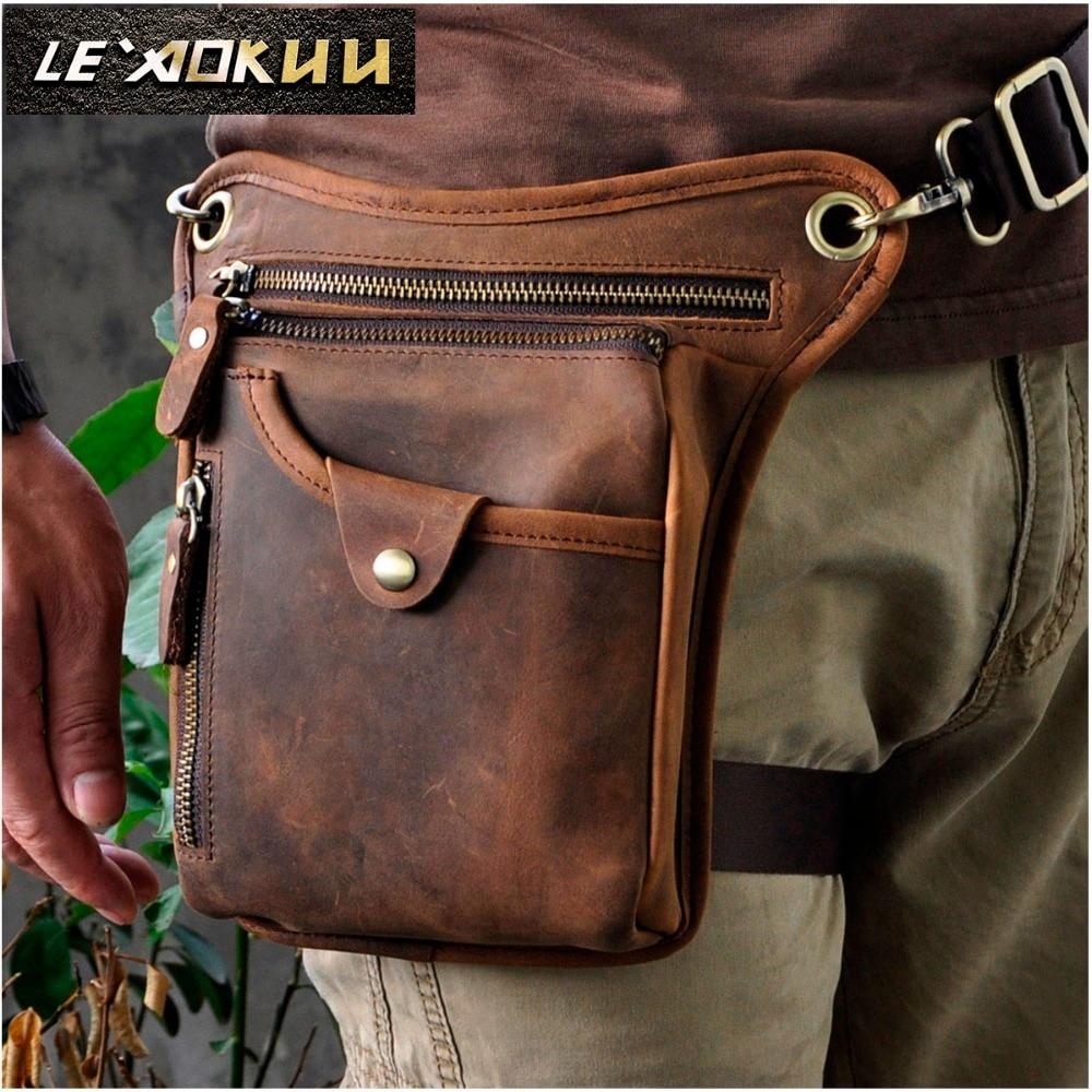 Genuine Real Leather Men Design Casual Messenger Crossbody Sling Bag Fashion Waist Belt Pack Leg Drop Bag Phone Pouch 211-5