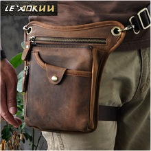 Hot Sale Toppkvalité Äkta Real Leather Cowhide Men Vintage Messenger Utomhus Running Fotvandringspaket Ben Drop Bag 211-5