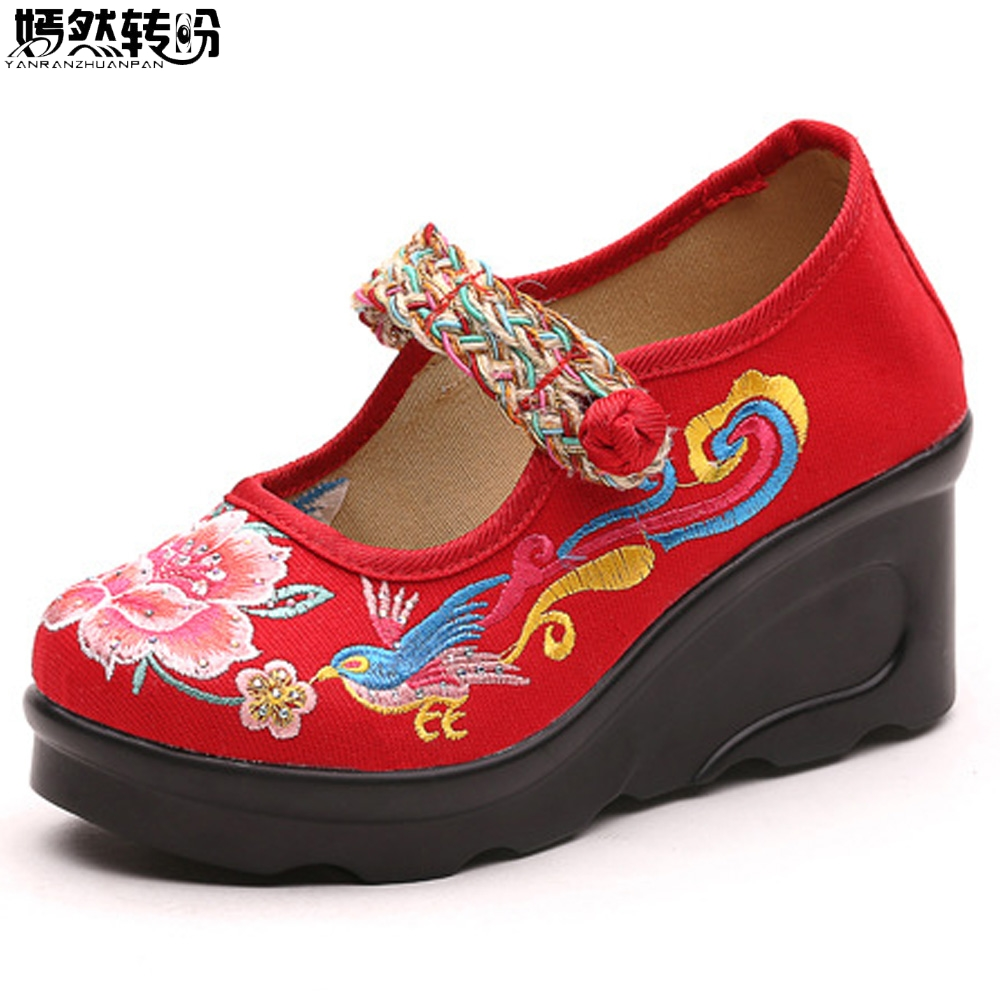 Chinese Women Pumps Bird Embroidered Casual Canvas High Heel Wedges Ethnic Ladies Mary Jane Strap Platform Shoes Sapatos Mulher ethnic embroidered black cami dress for women