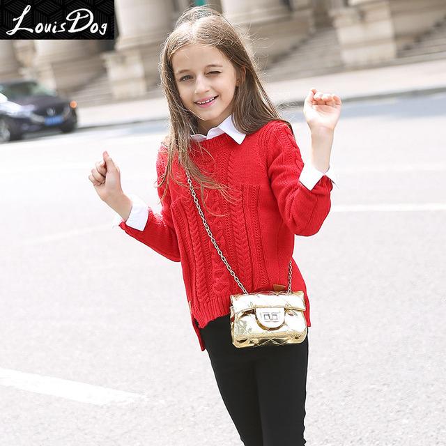 LouisDog rojo sweater knitting pattern top adolescente niños suéter suéteres tamaño 6-16yrs