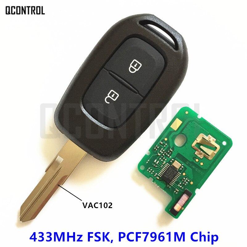 Qcontrol carro remoto chave 433mhz para renault sandero dacia logan lodgy dokker duster com chip pcf7961m hitag aes vac102 lâmina