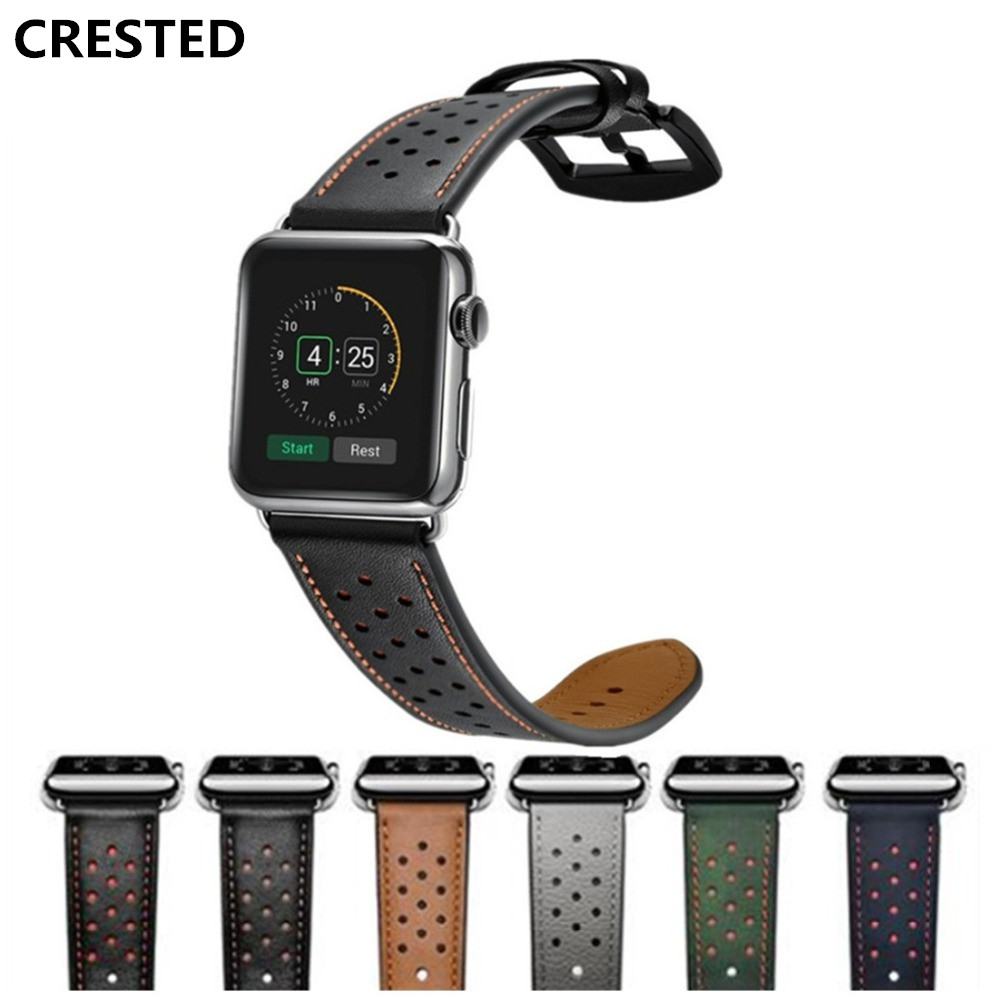 CRESTED Leather strap For Apple Watch Band 4 42mm/38mm 3 iwatch band 44mm/40mm correa apple watch 4 band wrist bracelet belt 2 1CRESTED Leather strap For Apple Watch Band 4 42mm/38mm 3 iwatch band 44mm/40mm correa apple watch 4 band wrist bracelet belt 2 1