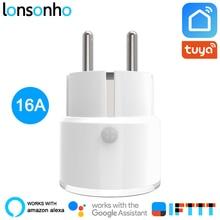 Lonsonho 16A Power Monitor Smart Plug Wifi Smart Socket France Euro Eu Plug Tuya Smart Life App Alexa Google Home IFTTT
