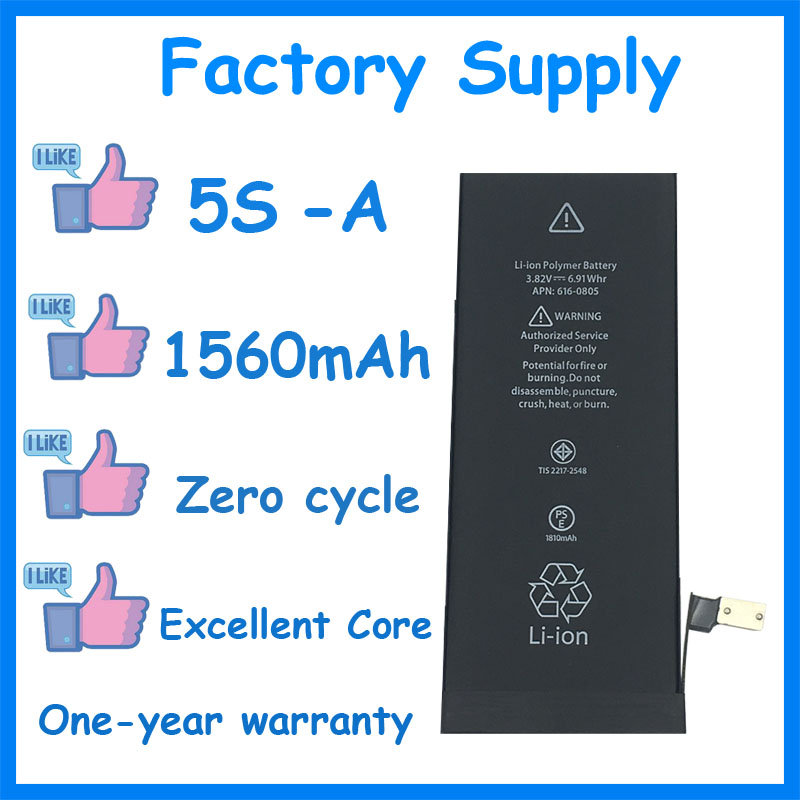 Dadaxiong 10pcs/Lot Factory Supply 1560mah Battery For Iphone 5S 5GS Genuine Zero Cycle Replacement Repair Parts 5S A