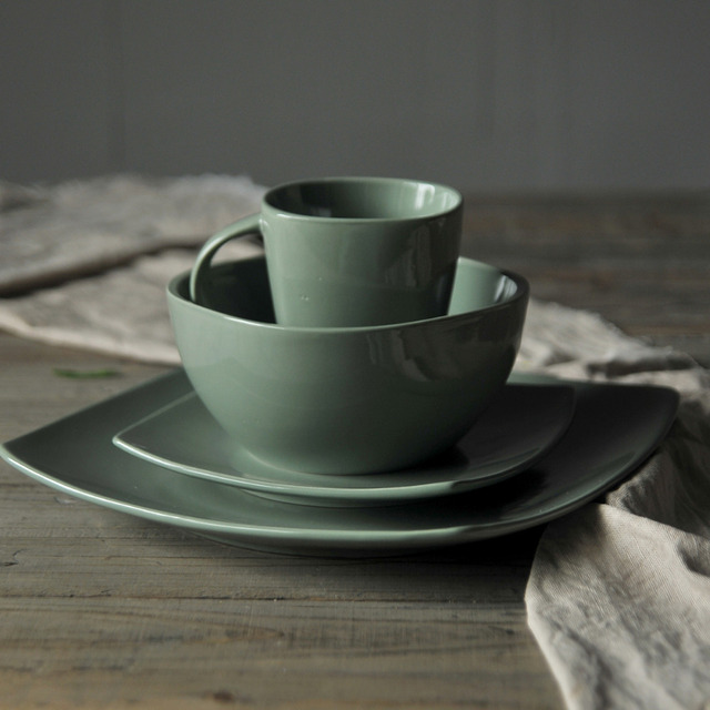 1 set HOMESTIA Ceramic Square Glaze Dinnerware Set Green/Gray/Yellow Mug Bowl Dinner & 1 set HOMESTIA Ceramic Square Glaze Dinnerware Set Green/Gray/Yellow ...