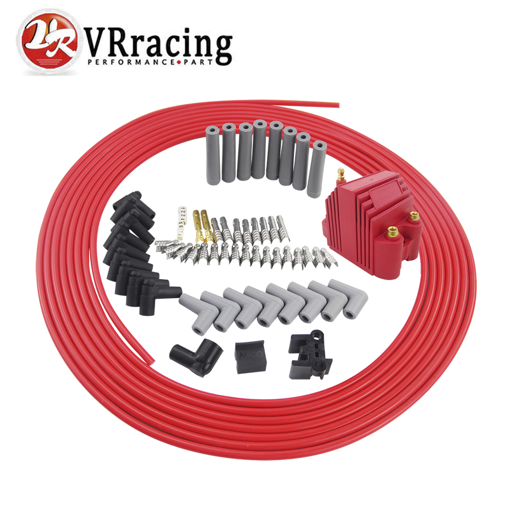 VR RACING 10m set Spark Plug Wires Spiral Core 8 5mm 12V E Core Ignition Coil