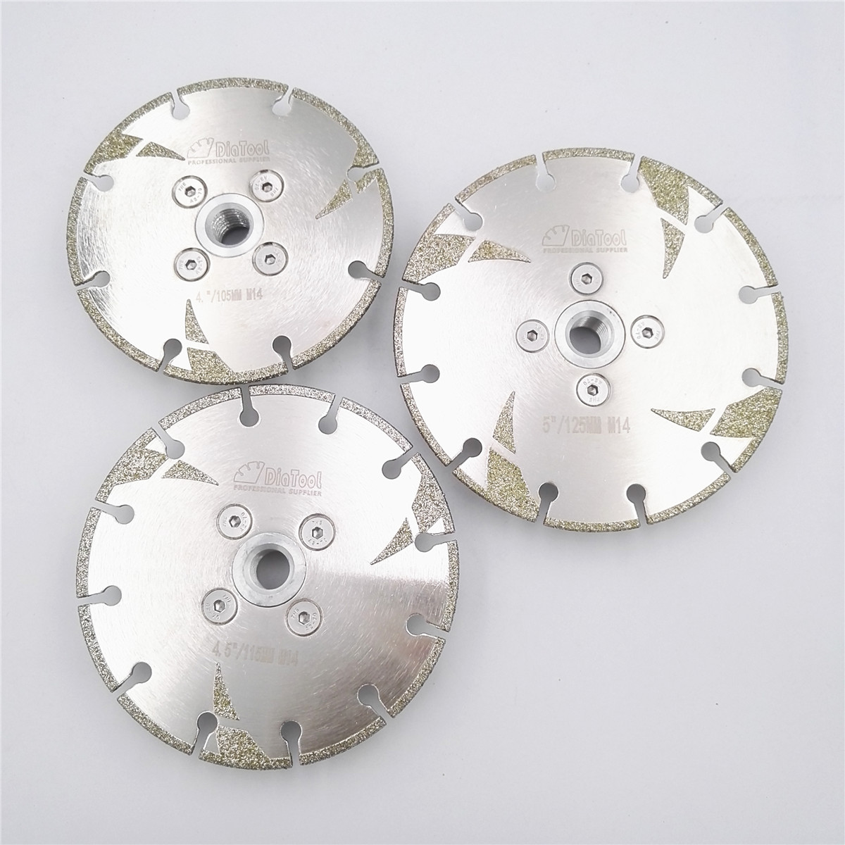DIATOOL 1pc Electroplated Diamond Cutting & Grinding Disc M14 Flange With Protection Coated Diamond Blade Granite Marble цена