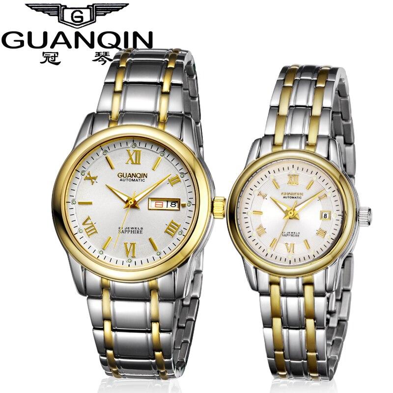 Couples de luxe montre paire lumineuse marque GUANQIN montres femmes 2018 paire mécanique saphir aime montre étanche montres