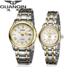Роскошные часы, пары пара светящиеся бренд GUANQIN Часы Для женщин 2018 пара Механическая сапфир любит смотреть Водонепроницаемый Наручные часы