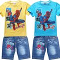 2016 Summer Children Cotton Clothing Sets Baby Boys Spider-man Sets Spiderman Kids t-shirt+jeans cartoon clothes Sports suit